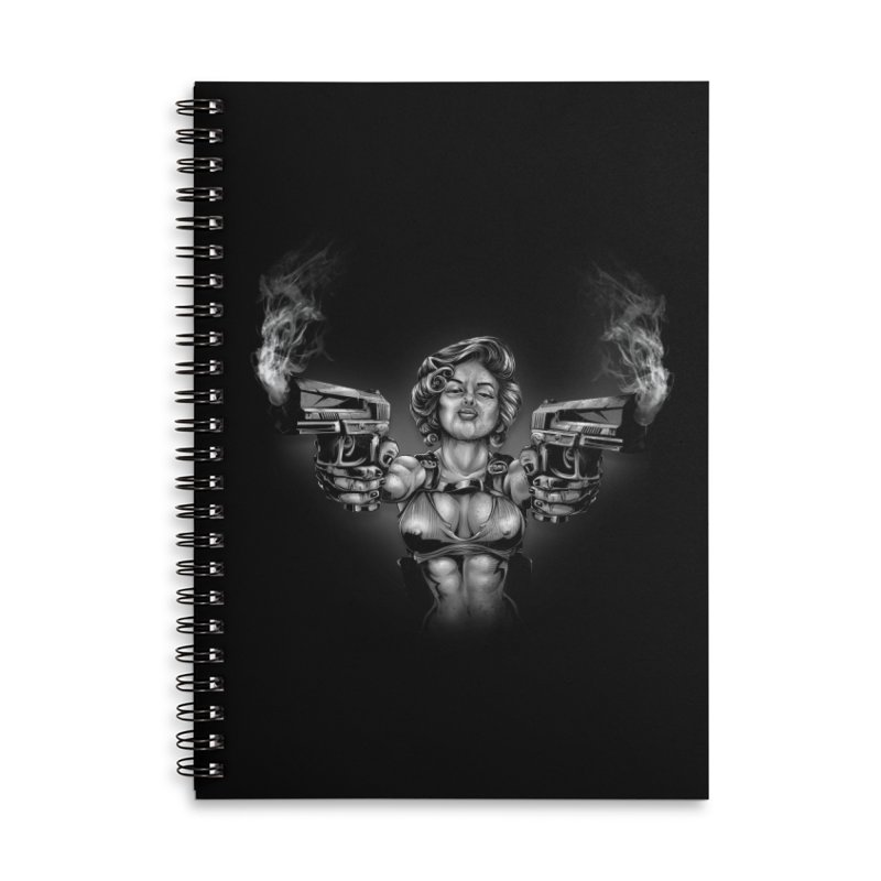Monroe with guns Accessories Lined Spiral Notebook by fishark's Artist Shop