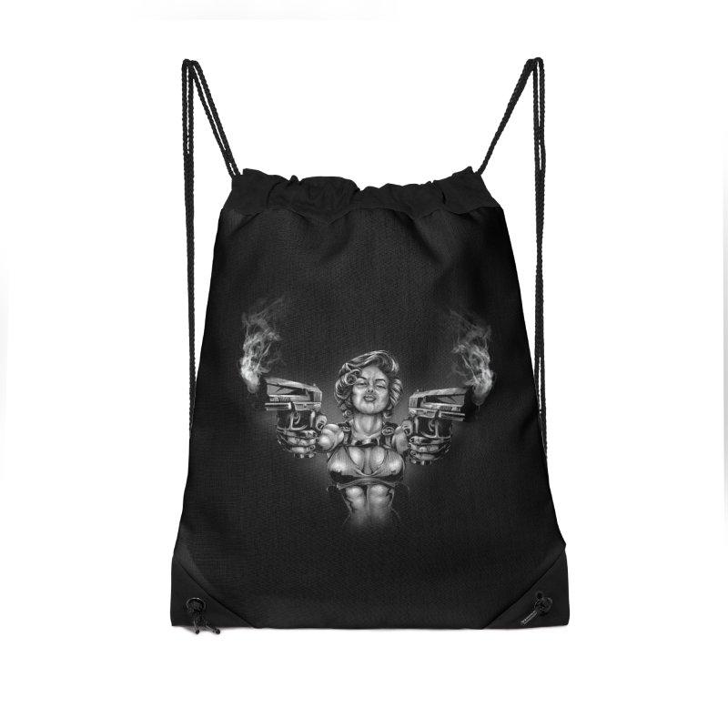 Monroe with guns Accessories Drawstring Bag Bag by fishark's Artist Shop