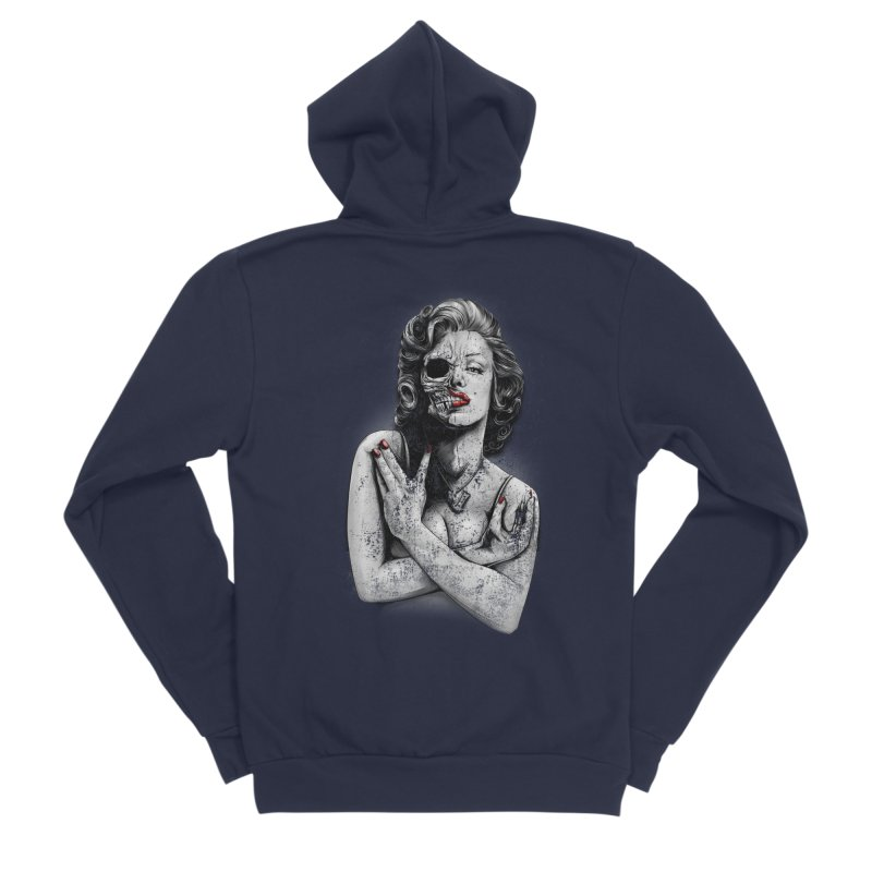 Monroe skull Women's Sponge Fleece Zip-Up Hoody by fishark's Artist Shop