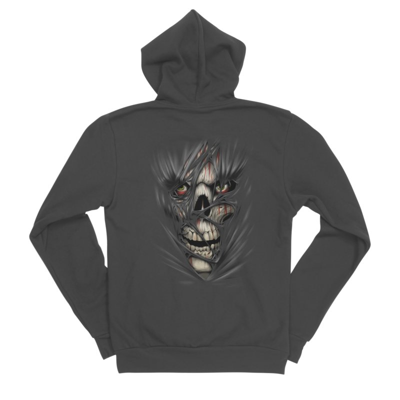 3D Skull Men's Sponge Fleece Zip-Up Hoody by fishark's Artist Shop