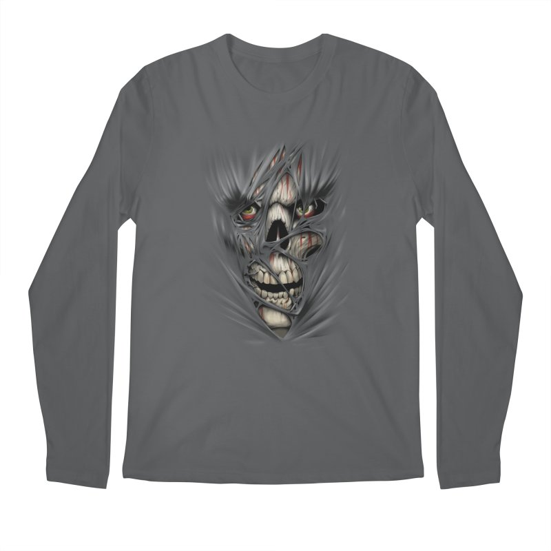 3D Skull Men's Longsleeve T-Shirt by fishark's Artist Shop