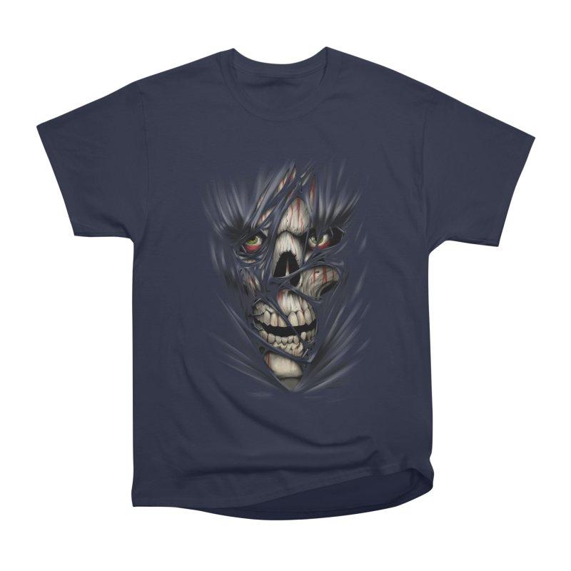 3D Skull Men's Heavyweight T-Shirt by fishark's Artist Shop