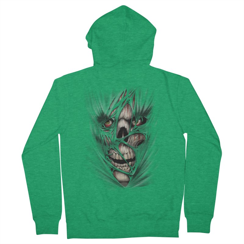 3D Skull Women's French Terry Zip-Up Hoody by fishark's Artist Shop