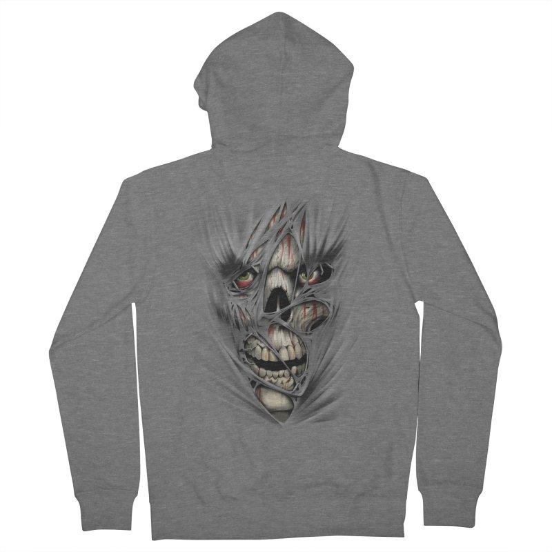 3D Skull Women's French Terry Zip-Up Hoody by fishark's Artist Shop