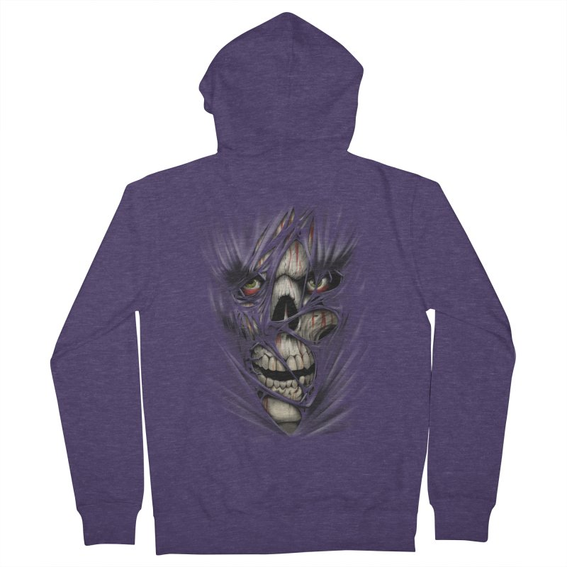 3D Skull Men's French Terry Zip-Up Hoody by fishark's Artist Shop