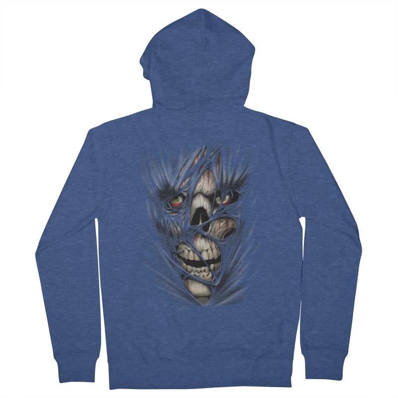 3D Skull Men's French Terry Zip-Up Hoody by fishark's Artist Shop