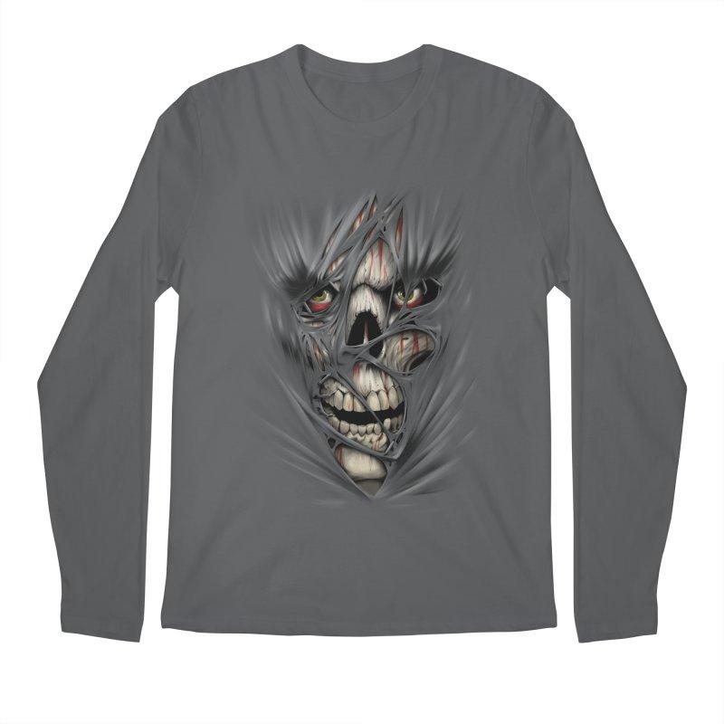 3D Skull Men's Longsleeve T-Shirt by fishark's Artist Shop