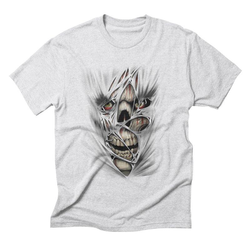 3D Skull Men's Triblend T-Shirt by fishark's Artist Shop