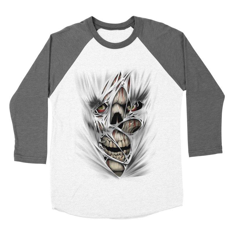 3D Skull Women's Baseball Triblend Longsleeve T-Shirt by fishark's Artist Shop