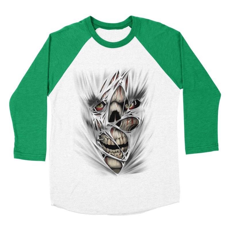 3D Skull Men's Baseball Triblend Longsleeve T-Shirt by fishark's Artist Shop