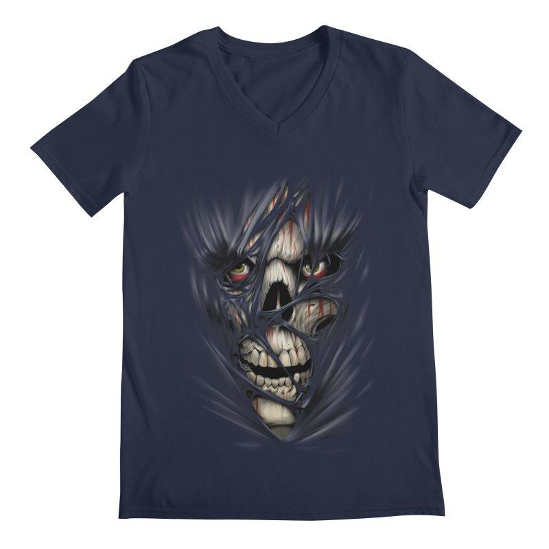 3D Skull Men's Regular V-Neck by fishark's Artist Shop