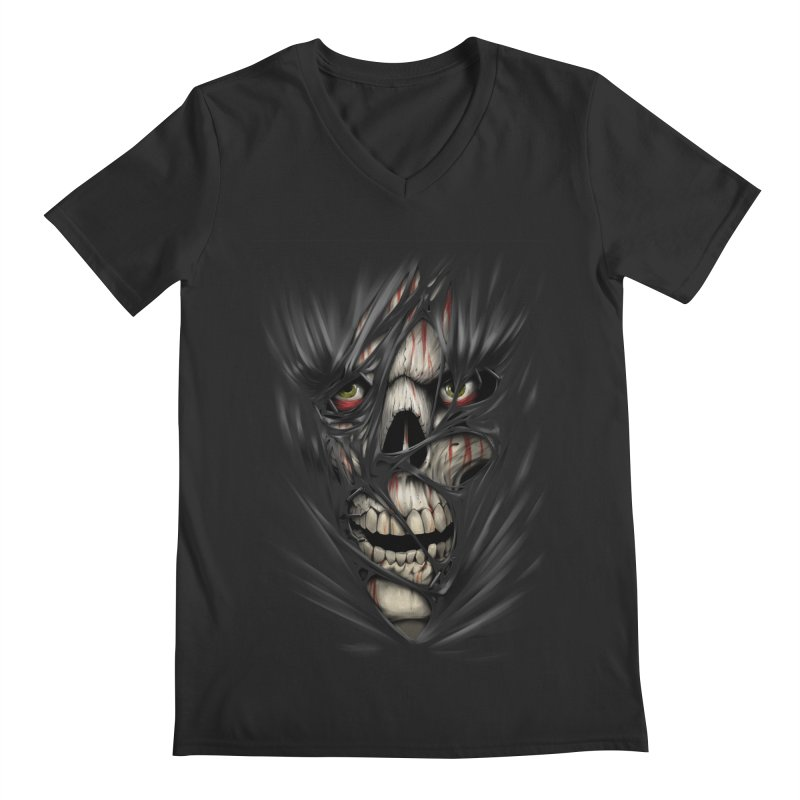 3D Skull Men's Regular V-Neck by fishark's Artist Shop
