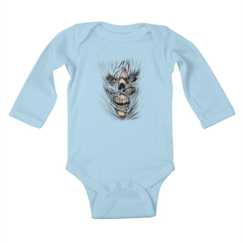 3D Skull Kids Baby Longsleeve Bodysuit by fishark's Artist Shop