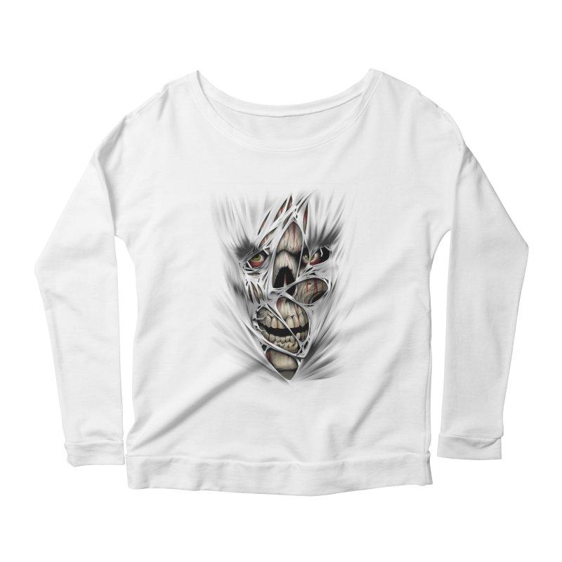 3D Skull Women's Scoop Neck Longsleeve T-Shirt by fishark's Artist Shop