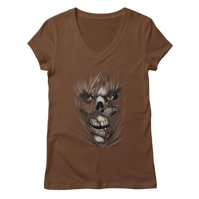 3D Skull Women's Regular V-Neck by fishark's Artist Shop