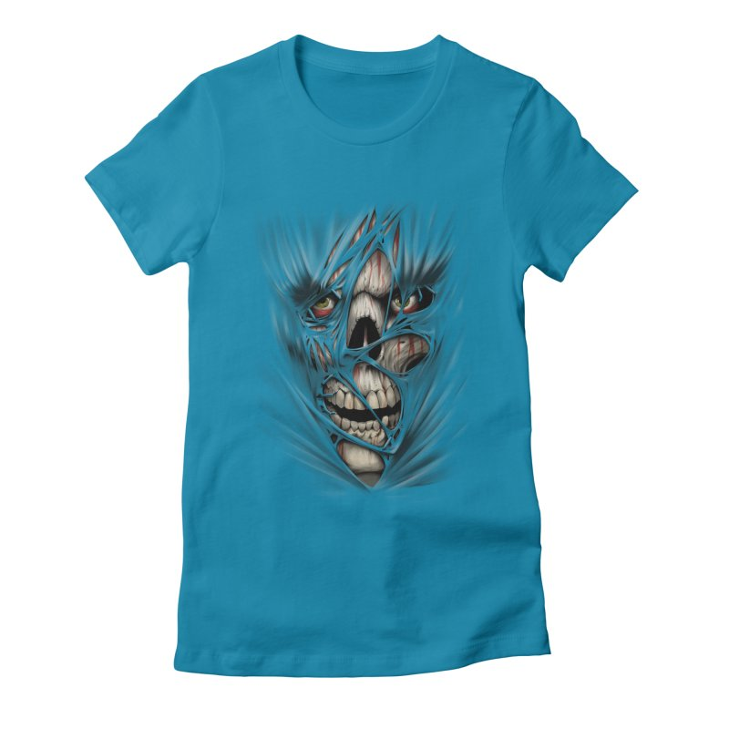 3D Skull Women's Fitted T-Shirt by fishark's Artist Shop