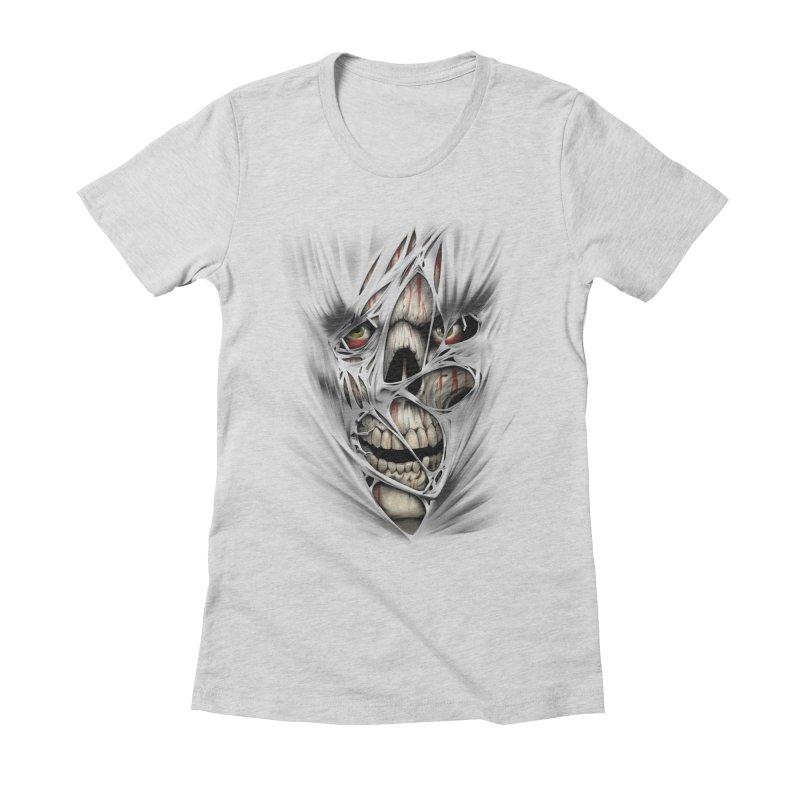 3D Skull Women's Fitted T-Shirt by fishark's Artist Shop