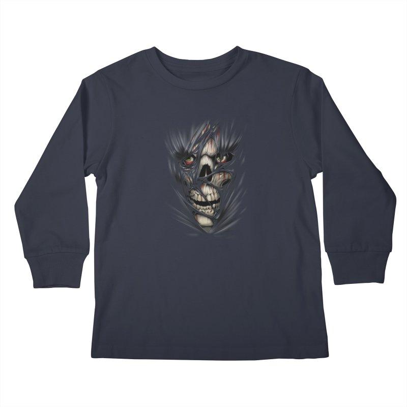3D Skull Kids Longsleeve T-Shirt by fishark's Artist Shop