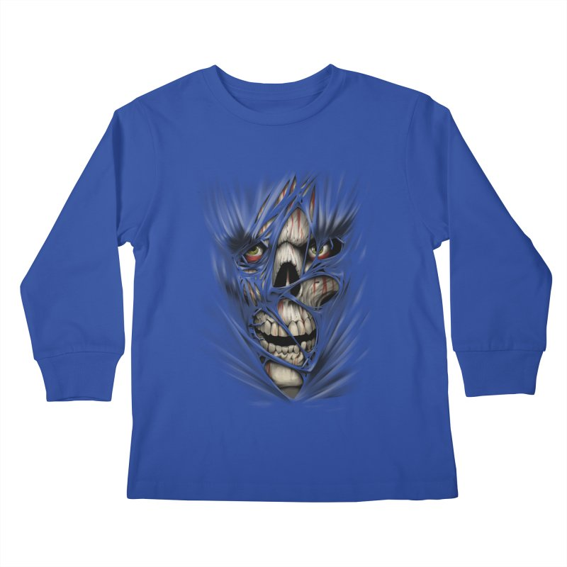 3D Skull Kids Longsleeve T-Shirt by fishark's Artist Shop