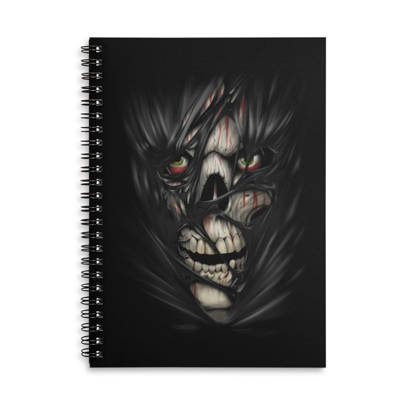 3D Skull Accessories Lined Spiral Notebook by fishark's Artist Shop