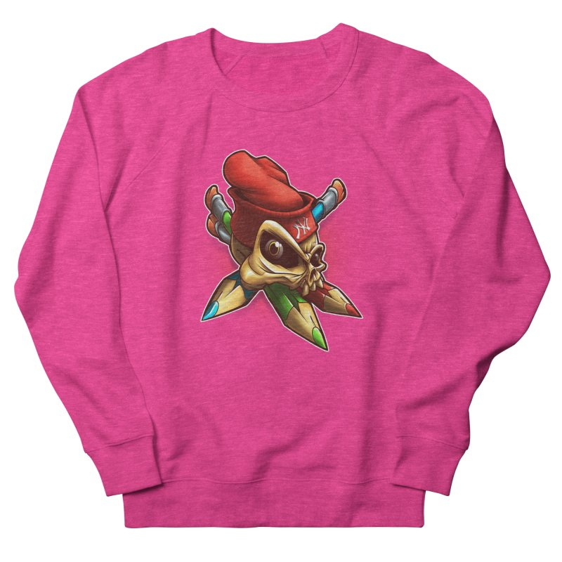 Skull Women's French Terry Sweatshirt by fishark's Artist Shop