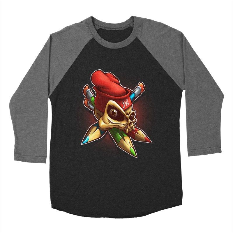 Skull Women's Baseball Triblend Longsleeve T-Shirt by fishark's Artist Shop