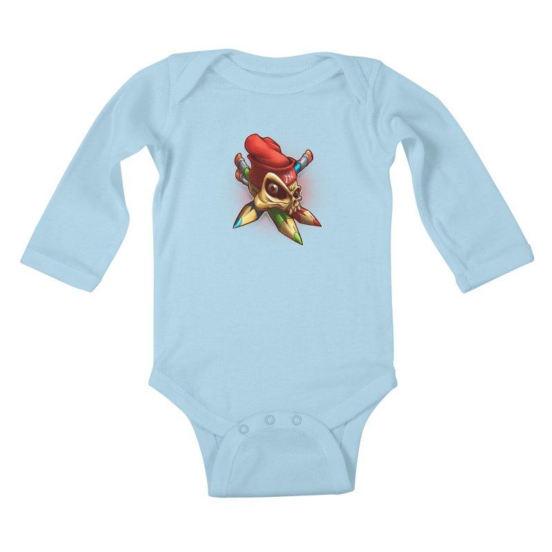 Skull Kids Baby Longsleeve Bodysuit by fishark's Artist Shop