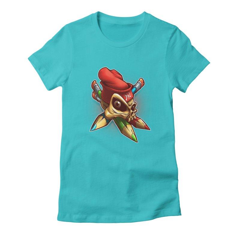 Skull Women's Fitted T-Shirt by fishark's Artist Shop