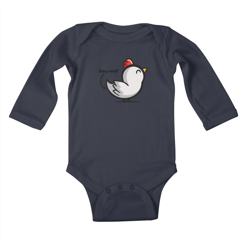 Guess What Chicken Butt Kids Baby Longsleeve Bodysuit by Fishbiscuit Designs