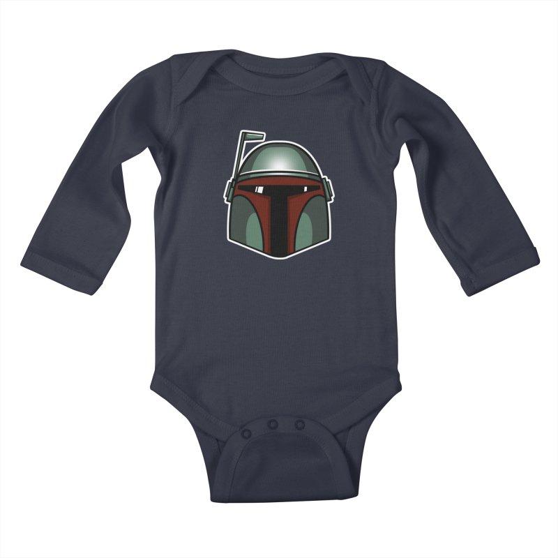 Boba Helmet Kids Baby Longsleeve Bodysuit by Fishbiscuit Designs