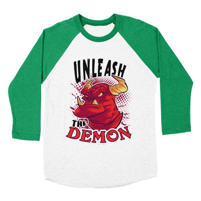 Unleash the Demon Women's Baseball Triblend T-Shirt by fishfinger's Artist Shop
