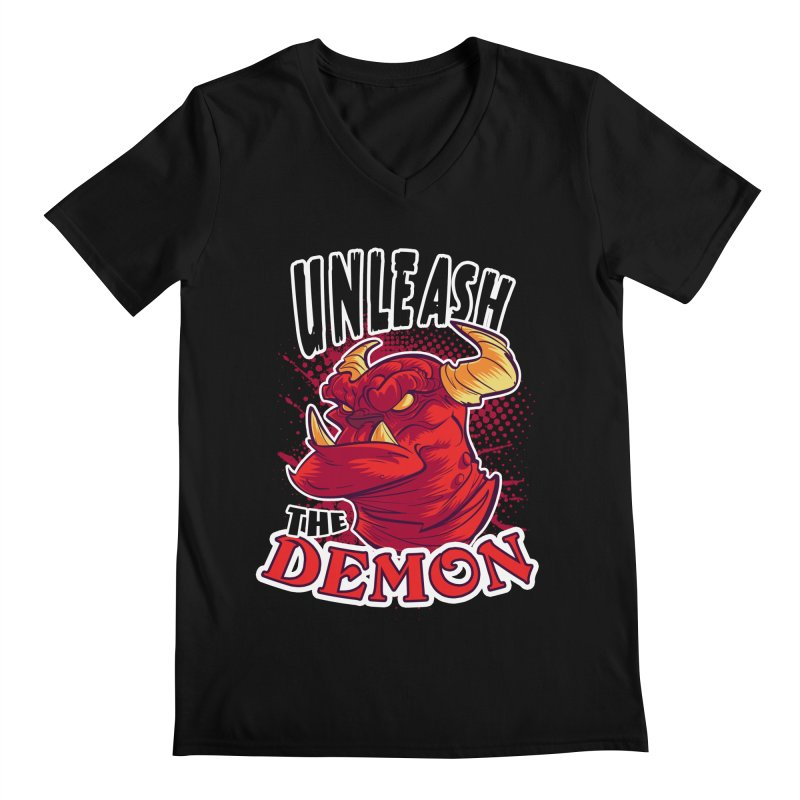 Unleash the Demon Men's V-Neck by fishfinger's Artist Shop
