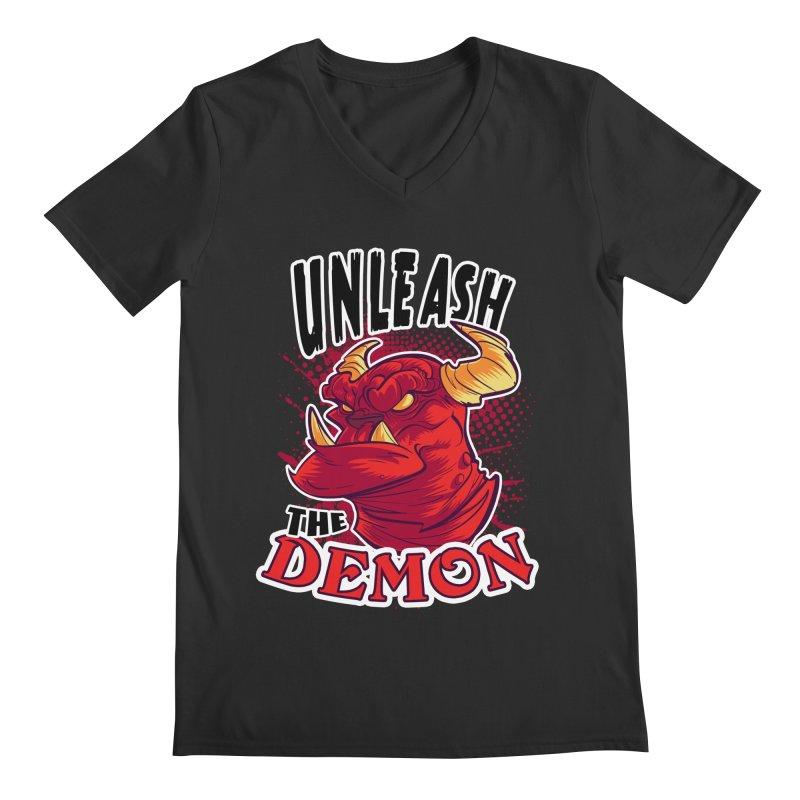 Unleash the Demon Men's V-Neck by fishfinger's Artist Shop