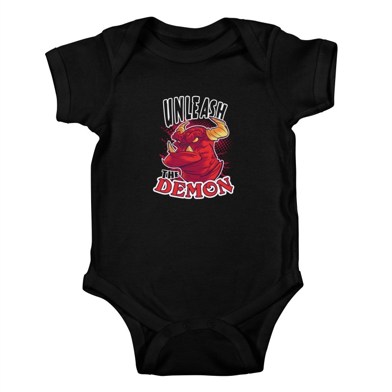 Unleash the Demon Kids Baby Bodysuit by fishfinger's Artist Shop