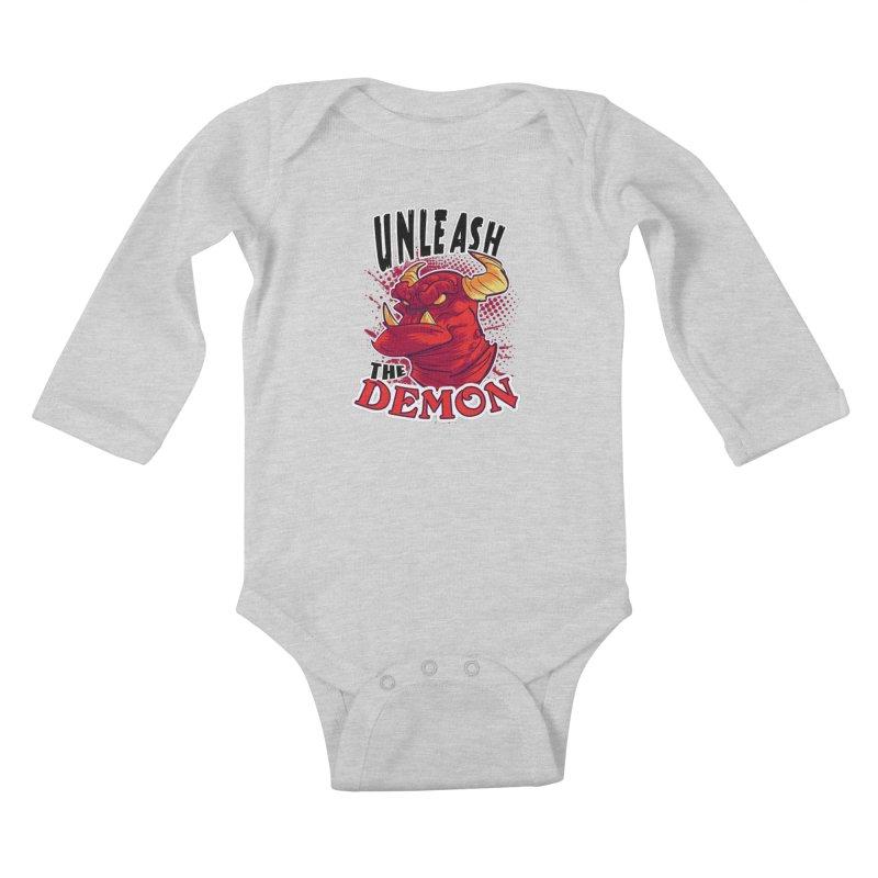 Unleash the Demon Kids Baby Longsleeve Bodysuit by fishfinger's Artist Shop