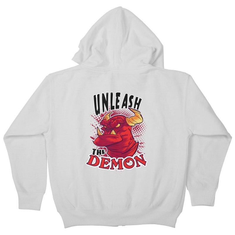 Unleash the Demon Kids Zip-Up Hoody by fishfinger's Artist Shop