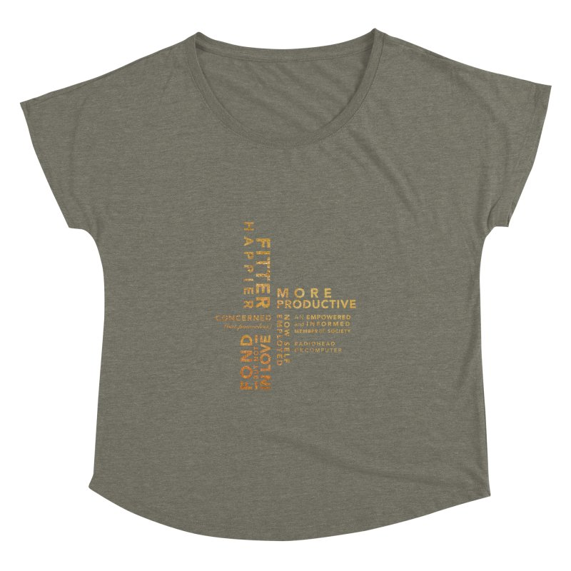 Fitter Happier (Gold type) Women's Dolman Scoop Neck by fitterhappierdesign's Artist Shop