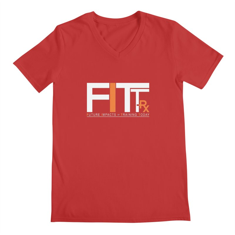 FITT-RX white logo Men's V-Neck by FITT-RX's Apparel Shop