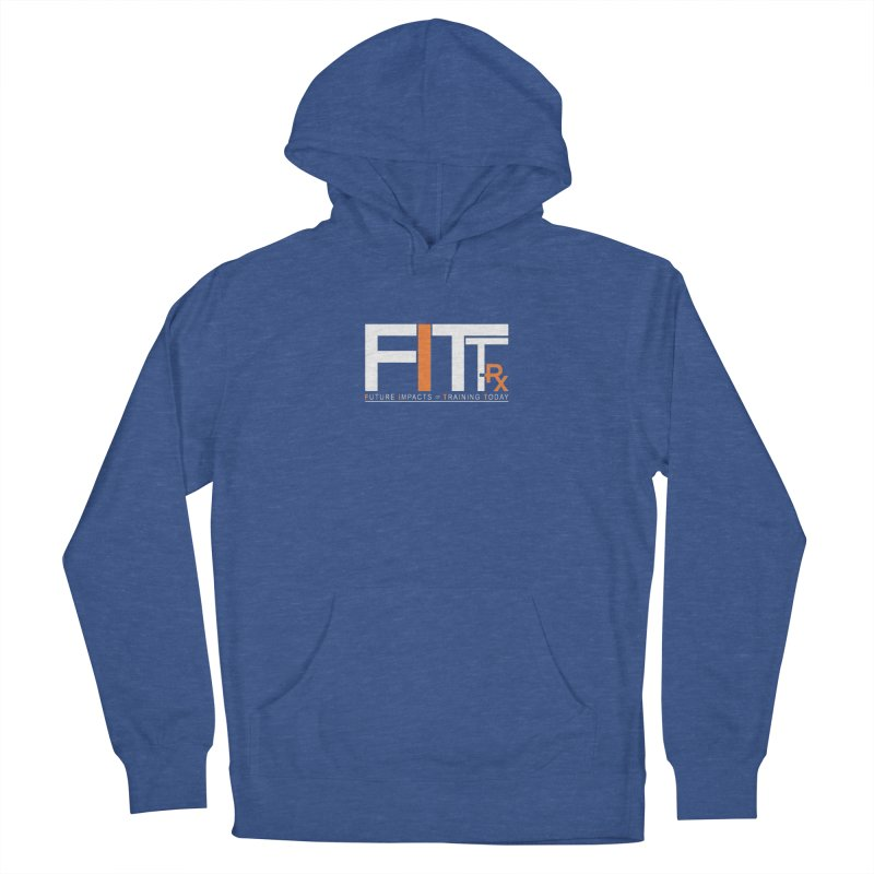 FITT-RX white logo in Men's French Terry Pullover Hoody Heather Royal by FITT-RX's Apparel Shop