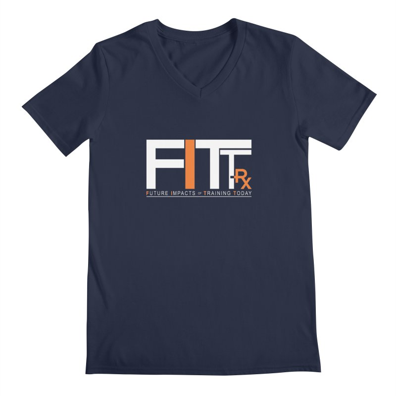 FITT-RX white logo Men's Regular V-Neck by FITT-RX's Apparel Shop