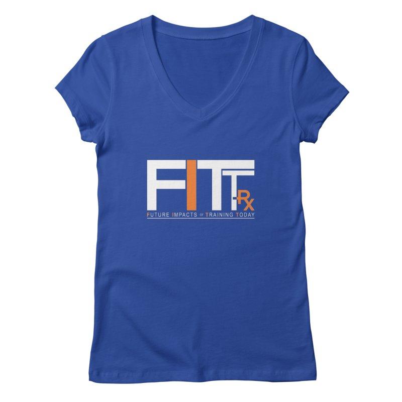 FITT-RX white logo Women's Regular V-Neck by FITT-RX's Apparel Shop