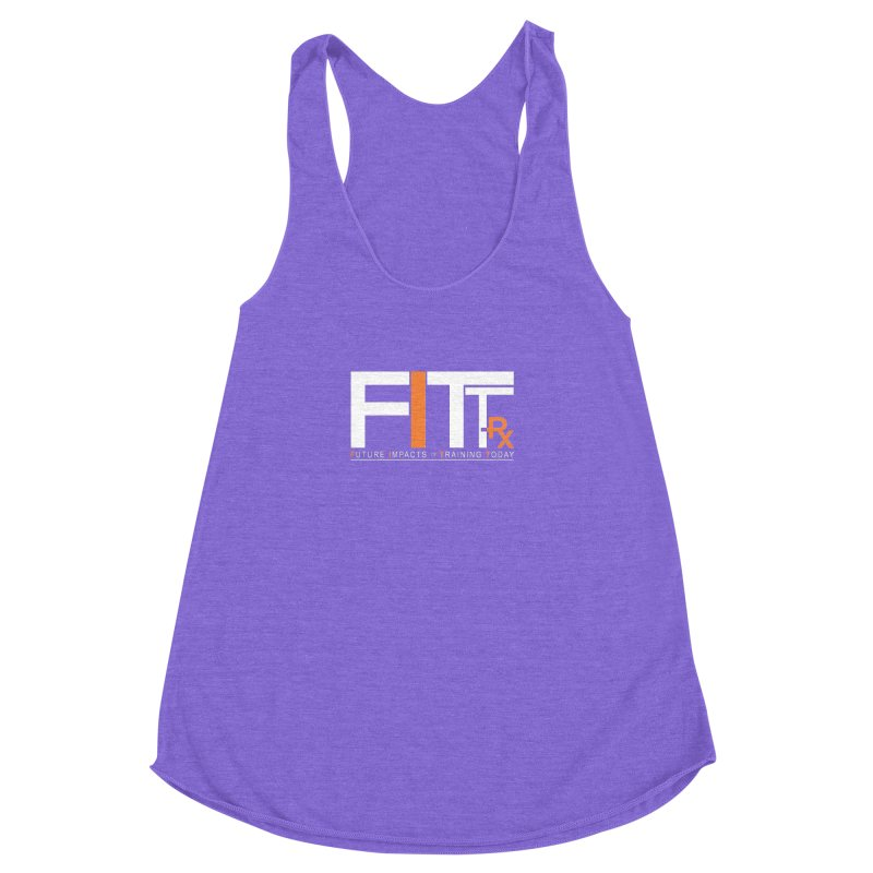 FITT-RX white logo in Women's Racerback Triblend Tank Tri-Orchid by FITT-RX's Apparel Shop