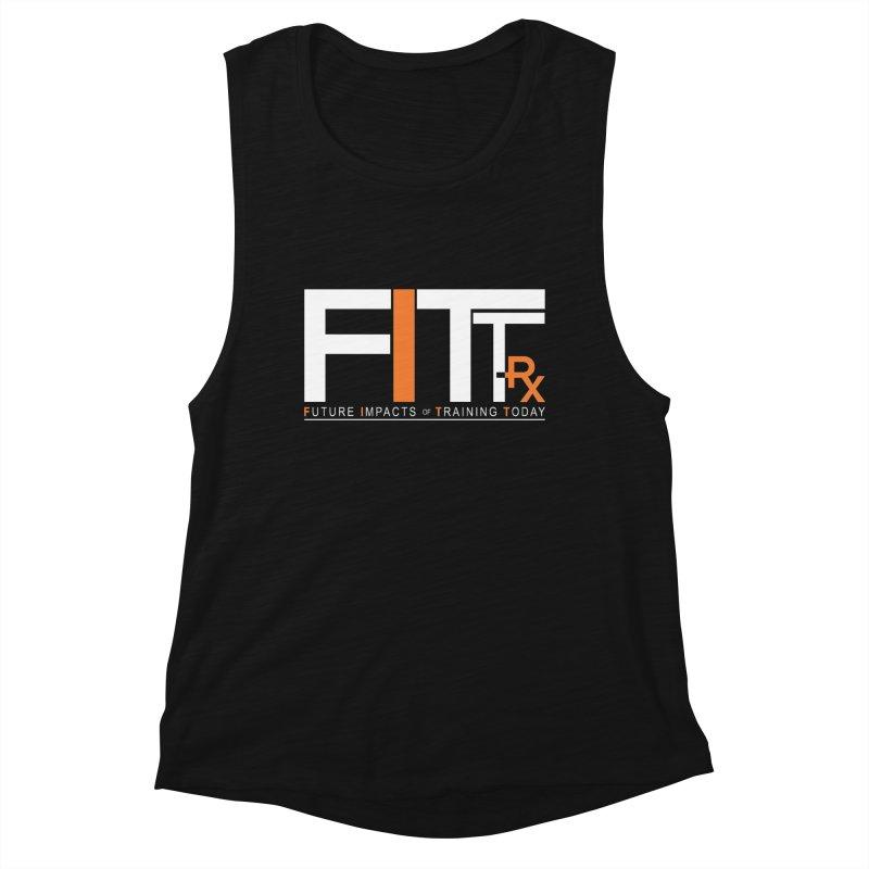 FITT-RX white logo in Women's Muscle Tank Black Slub by FITT-RX's Apparel Shop