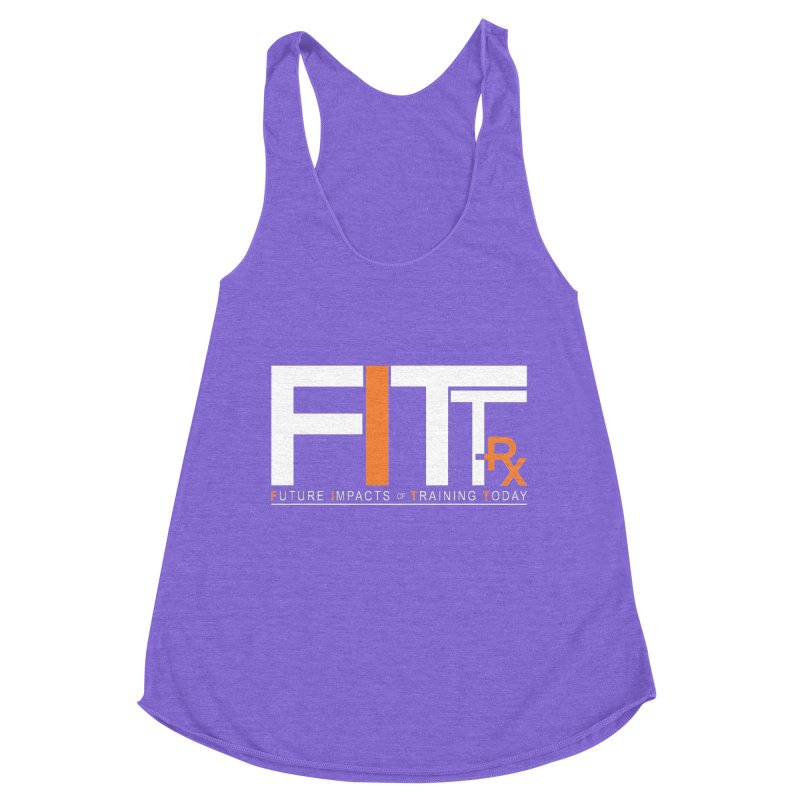 FITT-RX white logo in Women's Racerback Triblend Tank Tri-Orchid by FITT-RX's Apparel Shop