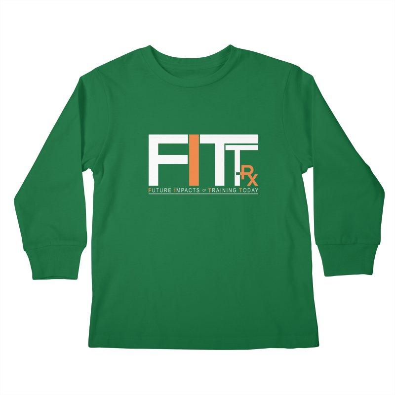 FITT-RX white logo Kids Longsleeve T-Shirt by FITT-RX's Apparel Shop