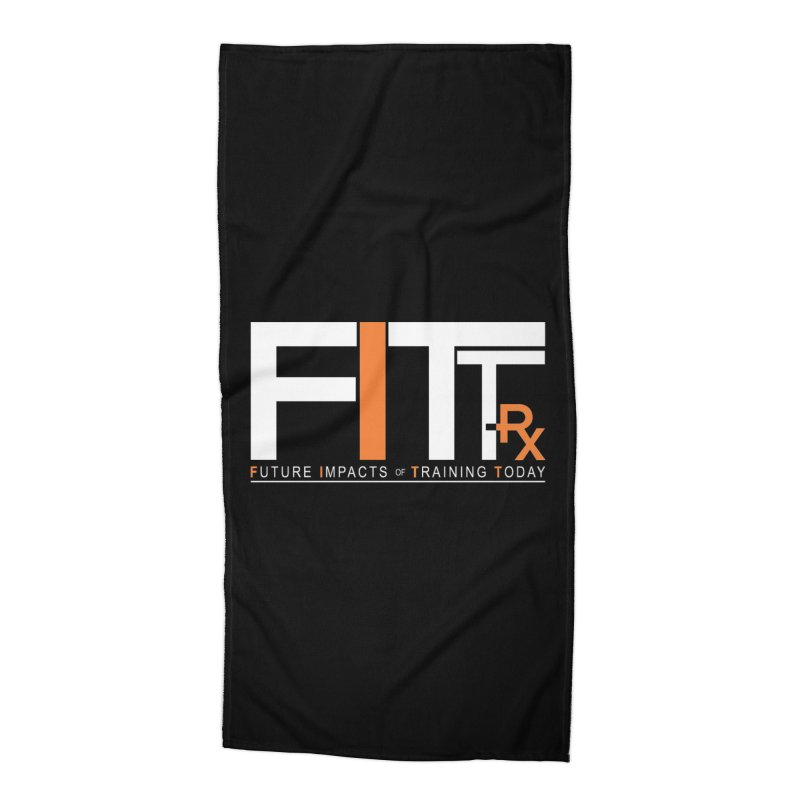 FITT-RX white logo Accessories Beach Towel by FITT-RX's Apparel Shop