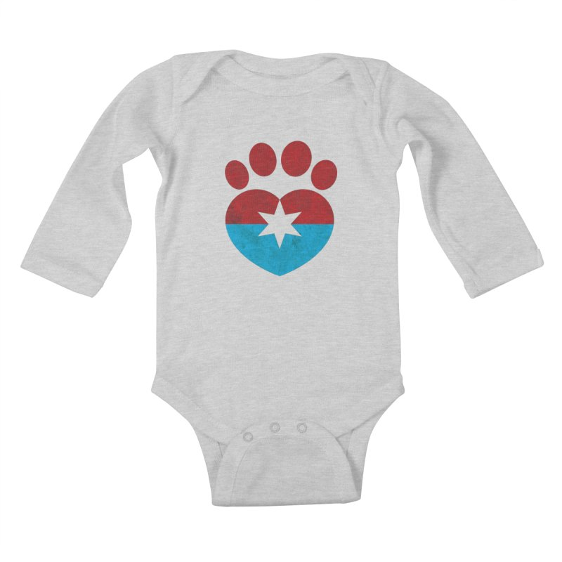 PAW RED/BLUE Kids Baby Longsleeve Bodysuit by Fix Chicago