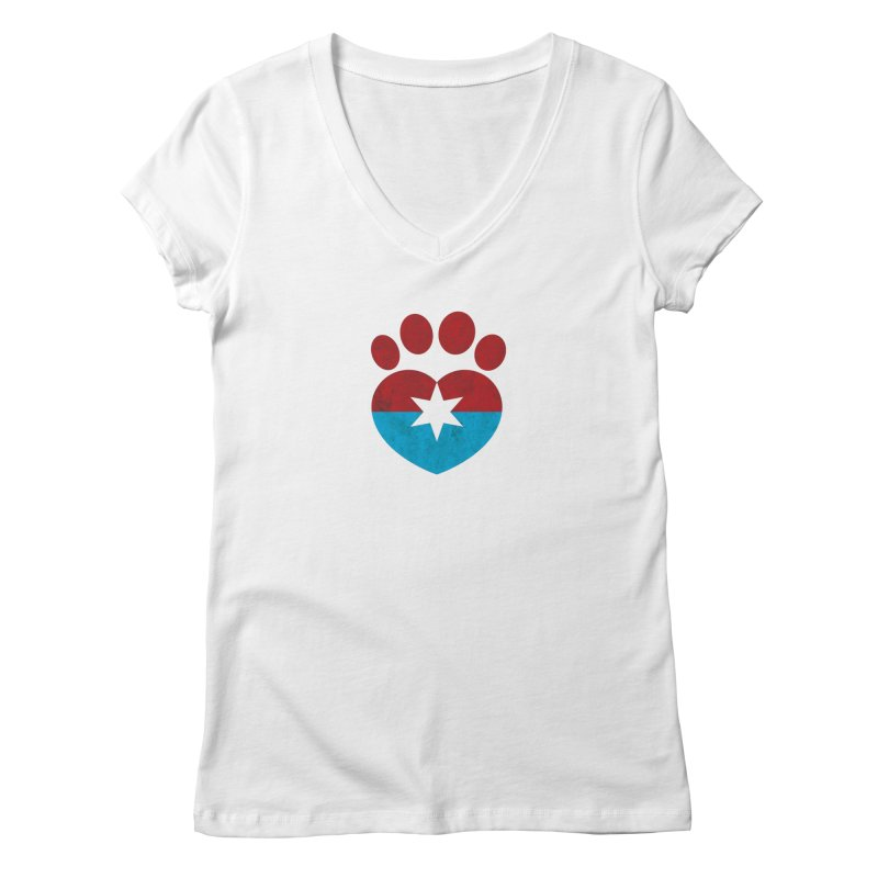 PAW RED/BLUE Women's V-Neck by Fix Chicago