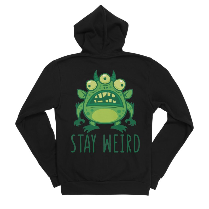 Stay Weird Alien Monster Men's Sponge Fleece Zip-Up Hoody by Fizzgig's Artist Shop