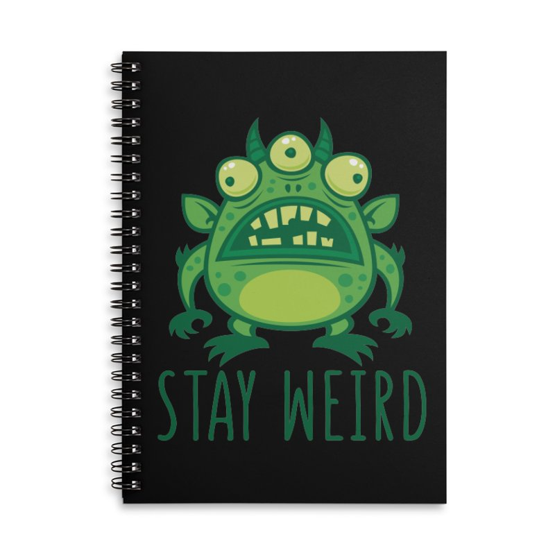 Stay Weird Alien Monster Accessories Lined Spiral Notebook by Fizzgig's Artist Shop
